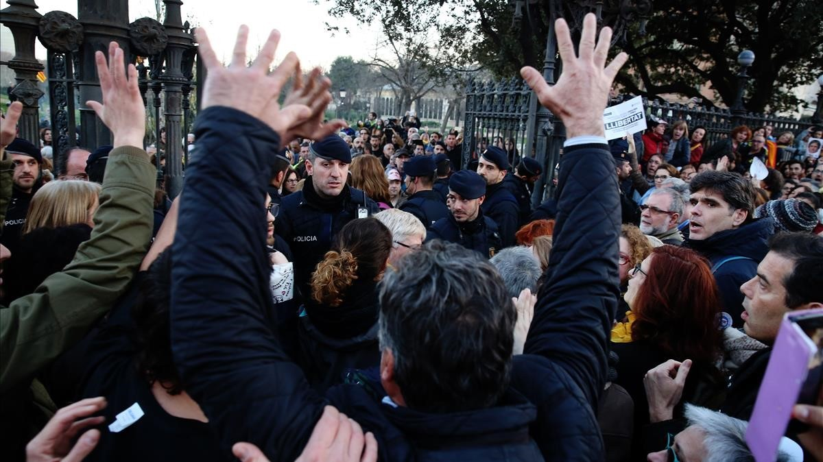 Protesta en el Parc de la Ciutadella.