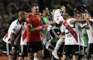 Ríver celebrando el triunfo ante Boca el pasado 23 de septiembre