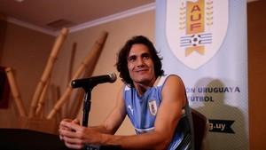 Cavani, en la rueda de prensa celebrada en Venezuela.