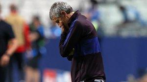 Setién, abatido durante el duelo contra el Bayern de Múnich en Lisboa.