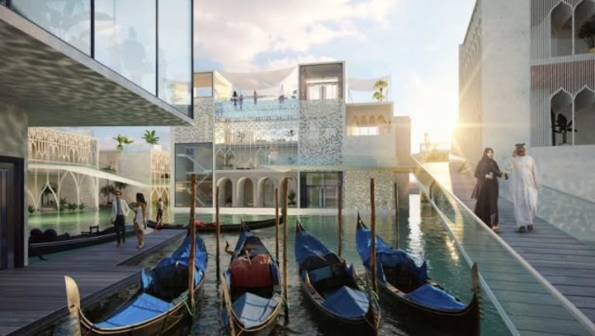 Recreación de una de las calles con canales que formarán el 'resort' de lujo The Floating Venice, en Dubai.