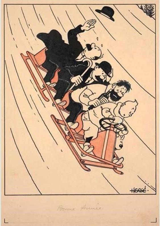 Una de las postales navideñas de Tintín, realizadas por Hergé, que se subastarán en la casa Artcurial de París en noviembre.