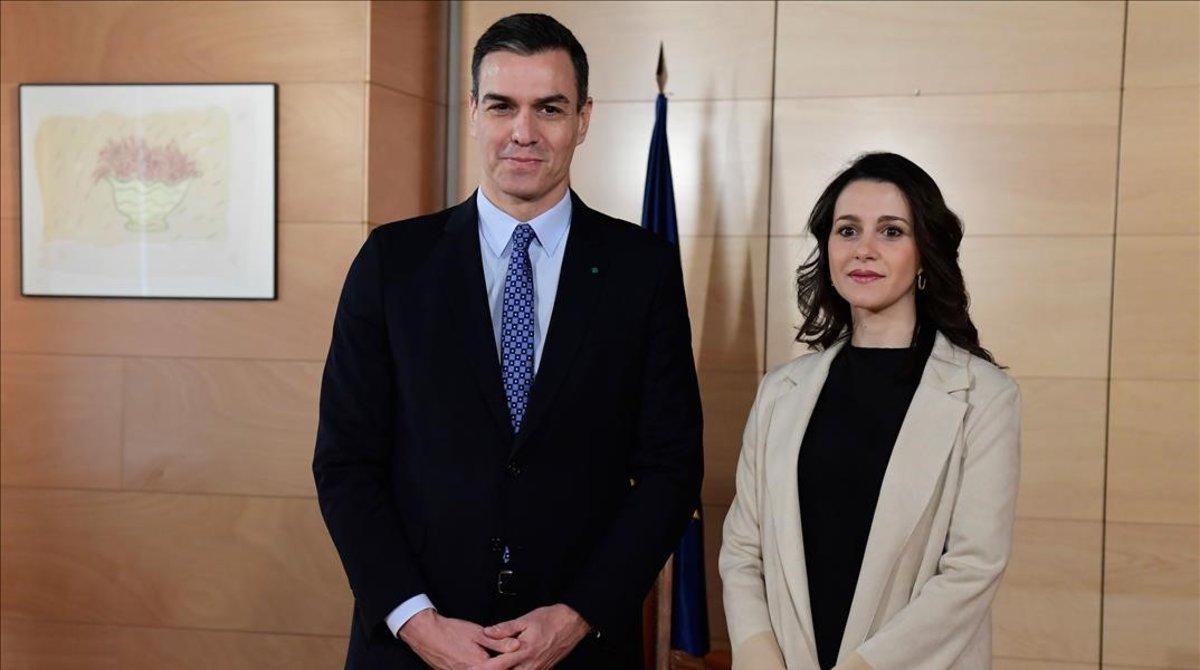 Pedro Sánchez e Inés Arrimadas, a finales del pasado diciembre.