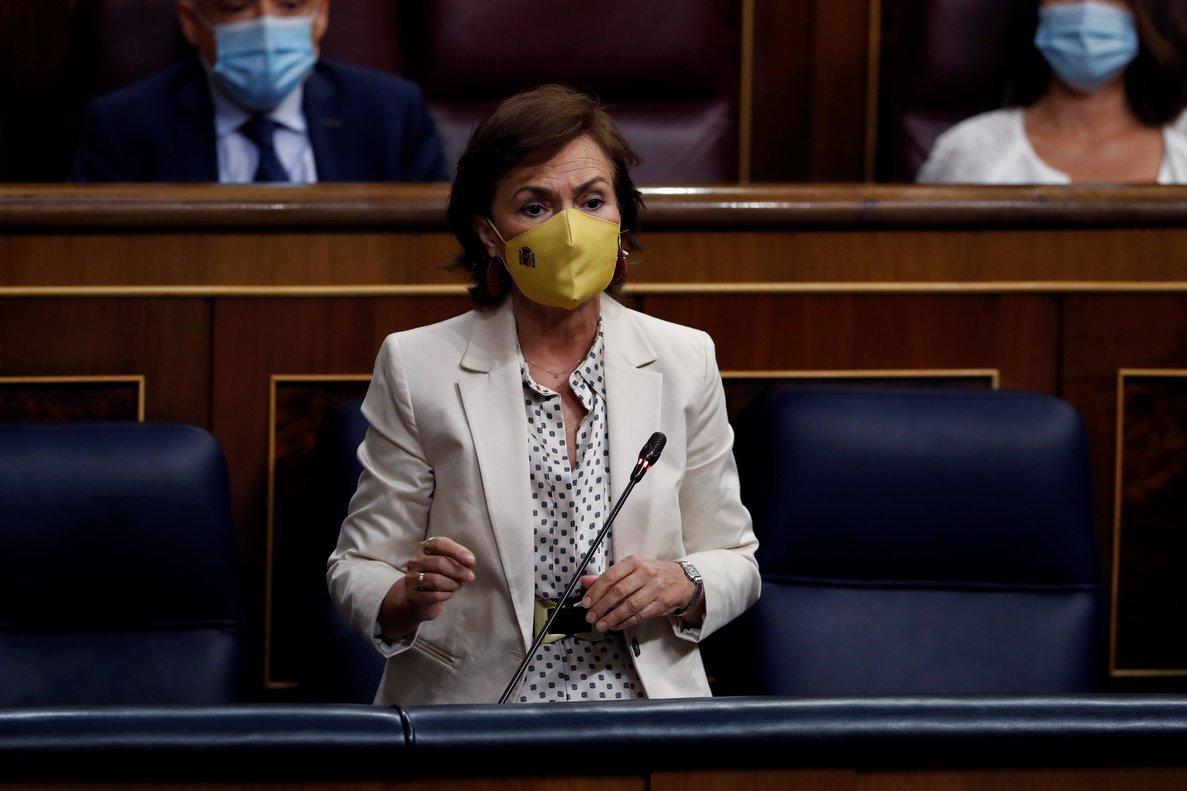 La vicepresidenta primera del Gobierno, Carmen Calvo, este 9 de septiembre en el pleno del Congreso.