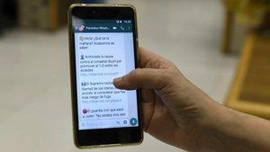 Aplicación de WhatsApp en un teléfono móvil.