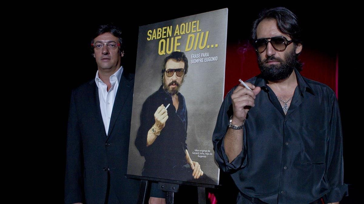 Gerard Jofra (izquierda), hijo de Eugenio, junto al humorista que interpreta a Reugenio, en el 2011, en la sala Villarroel.