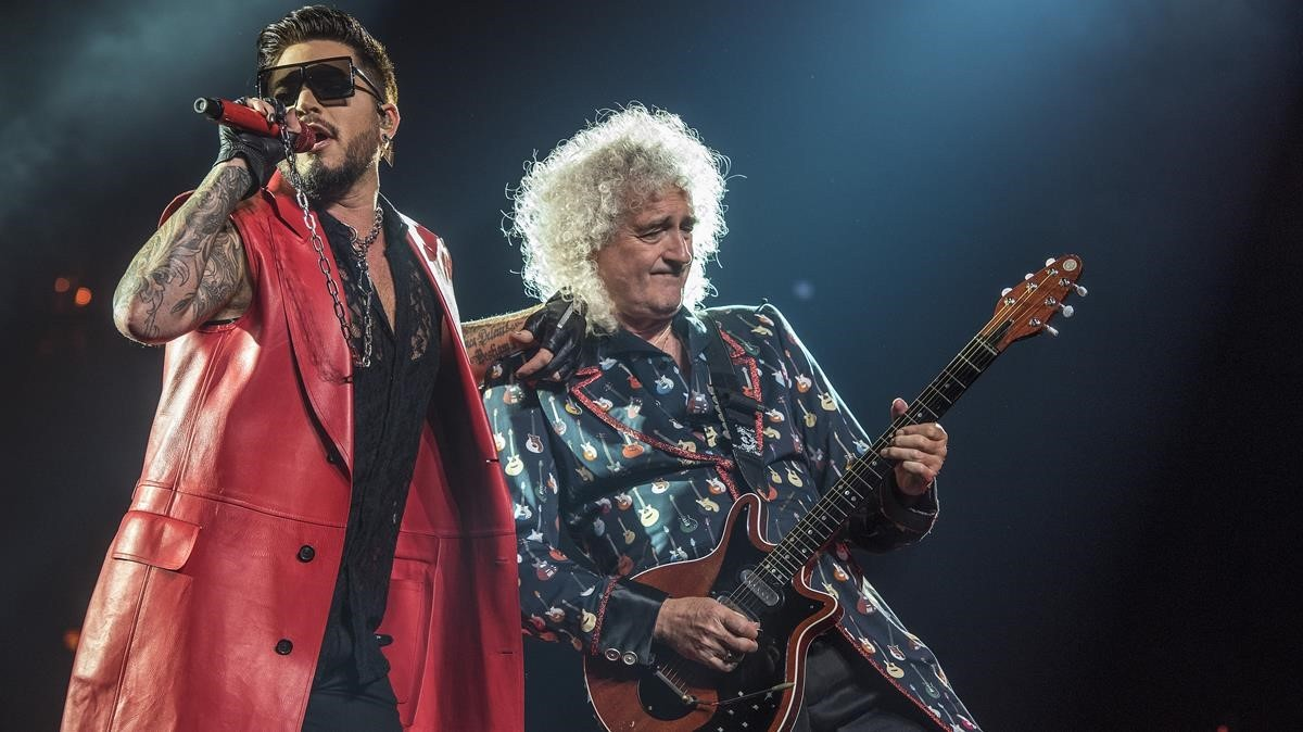 Adam Lambert y Brain May, en el Palau Sant Jordi.