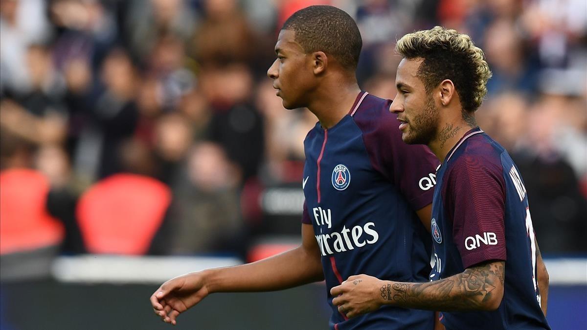 Mbappé y Neymar, en el Parque de los Príncipes, septiembre del 2017.