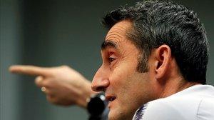 Ernesto Valverde, durante la rueda de prensa previa al Barça-Villarreal.