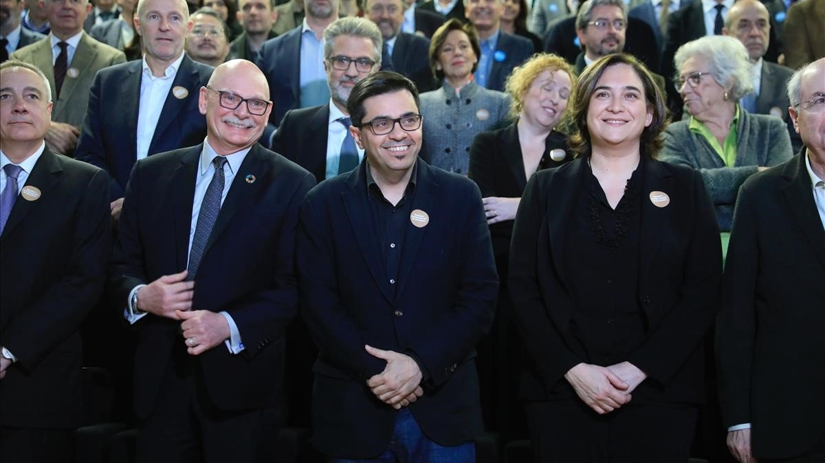 Pere Navarro (CZF),John Hoffman (MWC), Gerardo Pisarello y Ada Colau, en el Museu del Disseny Hub de Barcelona.