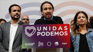 El candidato de Unidas Podemos, Pablo Iglesias, en el Teatro Goya (Madrid) tras conocerse los resultados de las elecciones