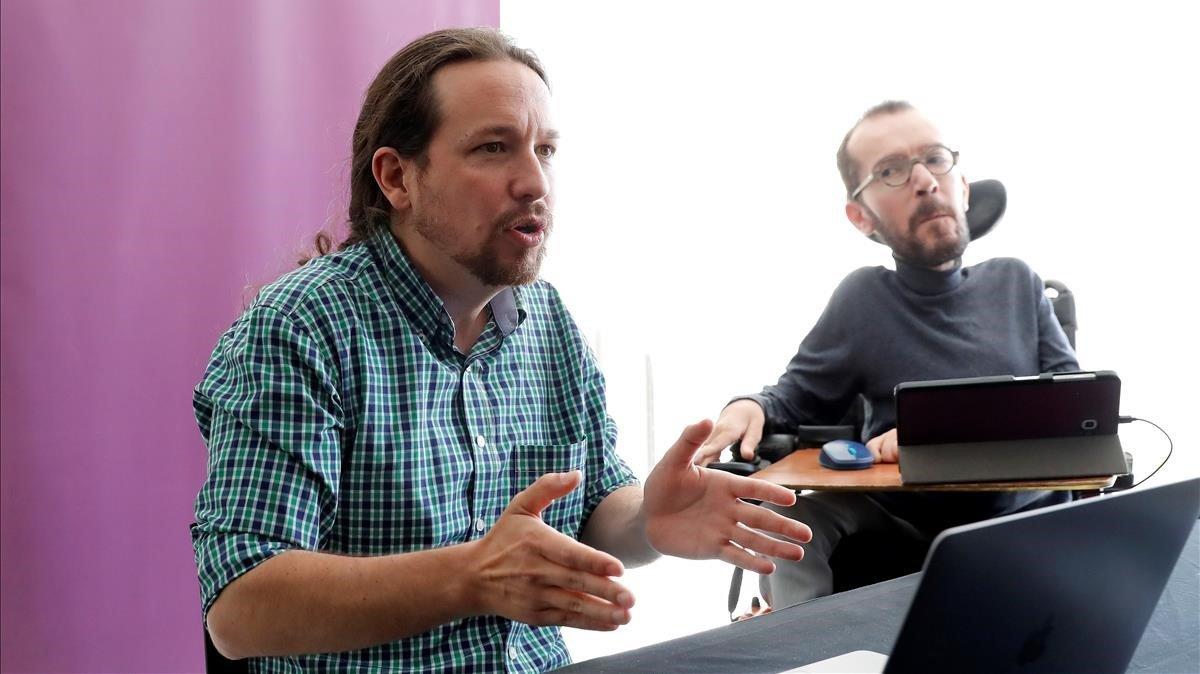 Pablo Iglesias y Pablo Echenique, durante la reunión interna de Unidas Podemos, este sábado.