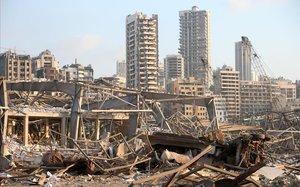 Vista de los daños tras la explosión.