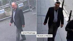 Khashoggi, a la izquierda. Su doble, a la derecha.