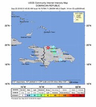 Villa Elisa Dominican Republic - A handout photo made available by the US Geological Survey USGS shows a Intensity map of a 5 2 -magnitude earthquake 3km North West of Villa Elisa Dominican Republic EFE EPA USGS