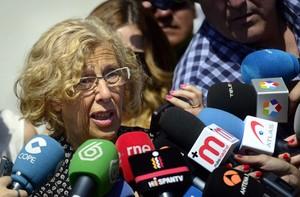 Manuela Carmena atén els mitjans, el 3 de juny a Madrid.