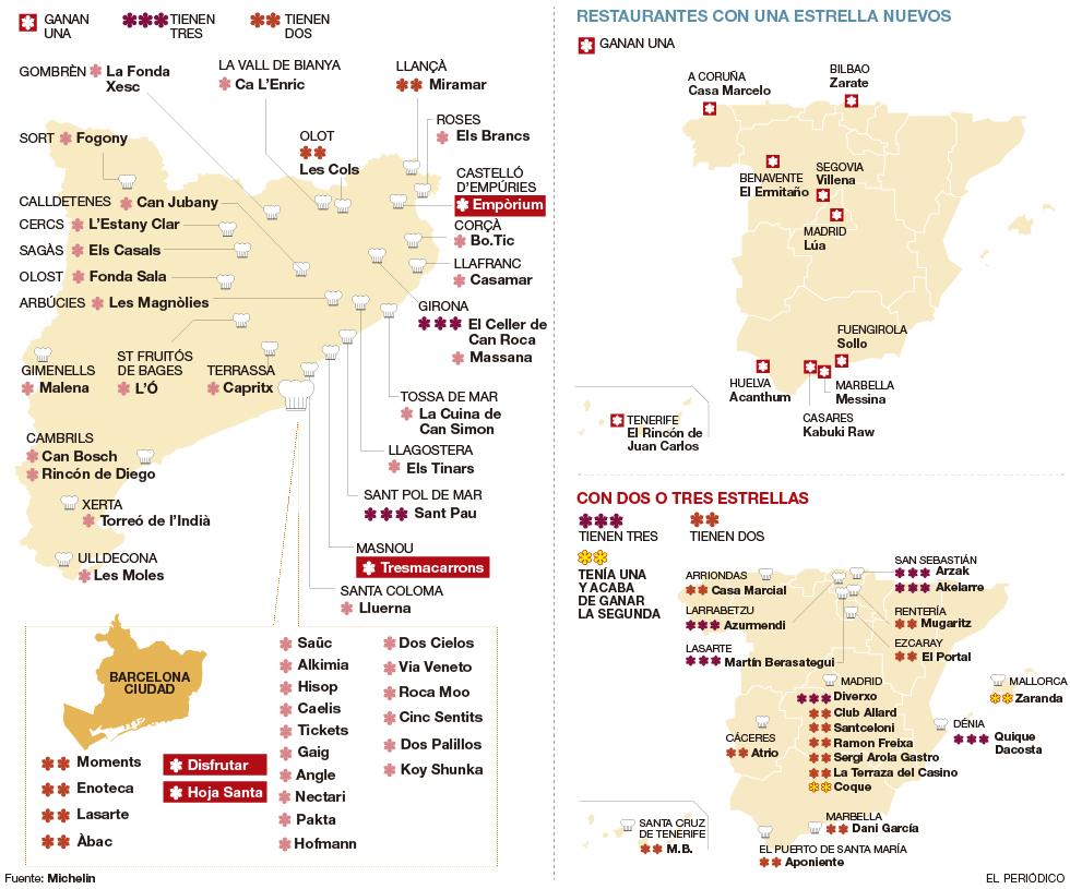 mapa da michelin INFOGRAFÍA | El mapa de las estrellas Michelin del 2016 mapa da michelin