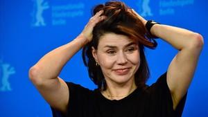 La directora polaca Molgarzata Szumowska, en la presentación de Twarz en Berlín