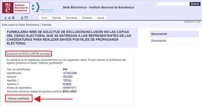 Pàgina de l'INE de confirmació que el procés de baixa de la propaganda electoral s'ha fet amb èxit
