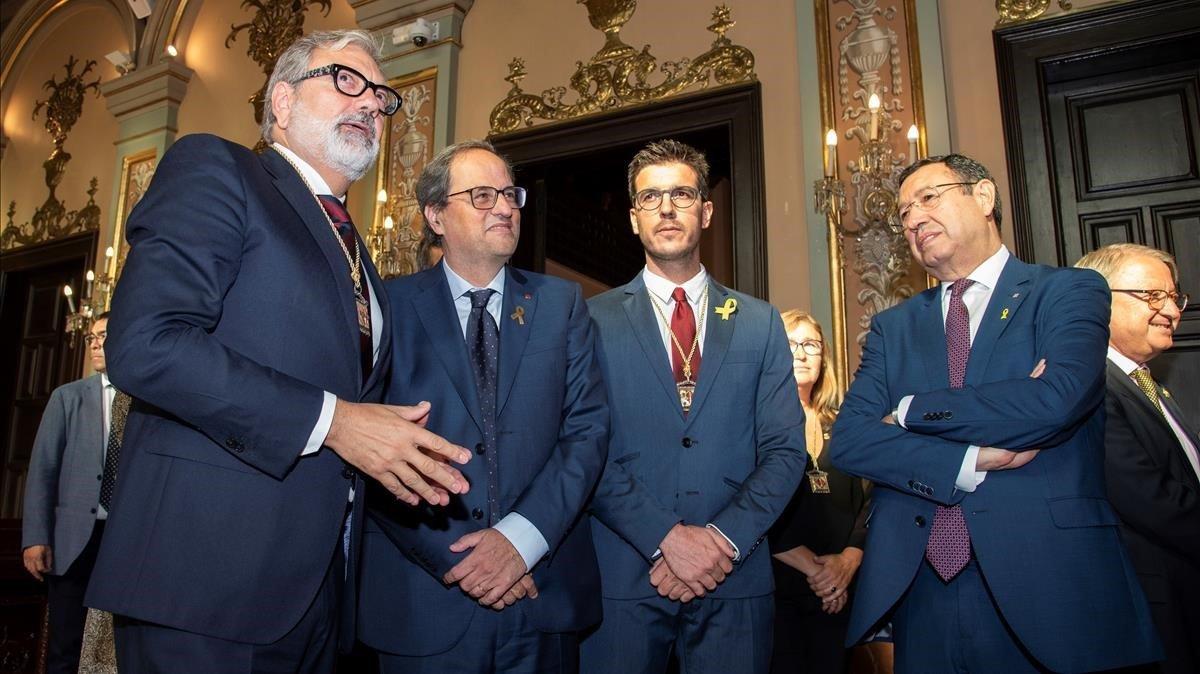 El alcalde de Lleida, Fèlix Larrosa (izquierda), junto al presidente de la Generalitat, Quim Torra, el pasado septiembre.