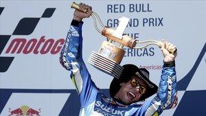 Álex Rins (Suzuki) celebra su victoria en el GP de las Américas de MotoGP