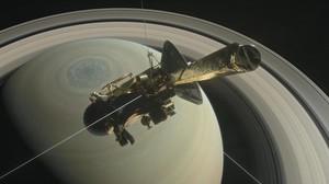 Simulación de la sonda espacial 'Cassini' durante la fase final de acercamiento a Saturno.