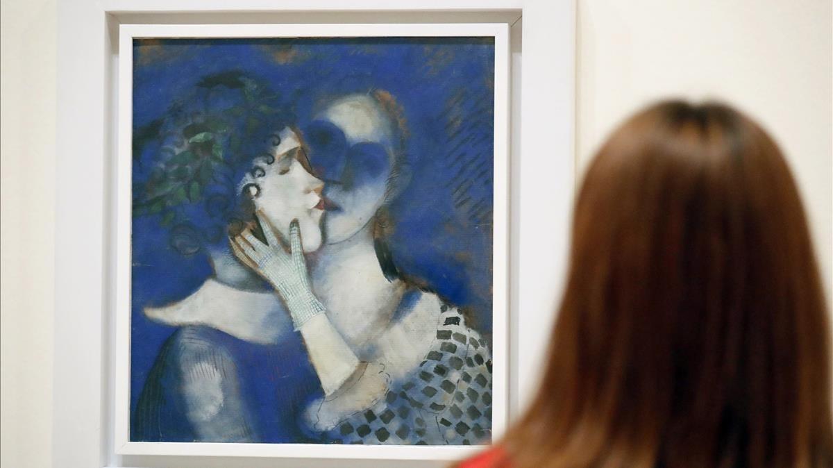Amantes en azul, en la muestra de Chagall del Guggenheim.