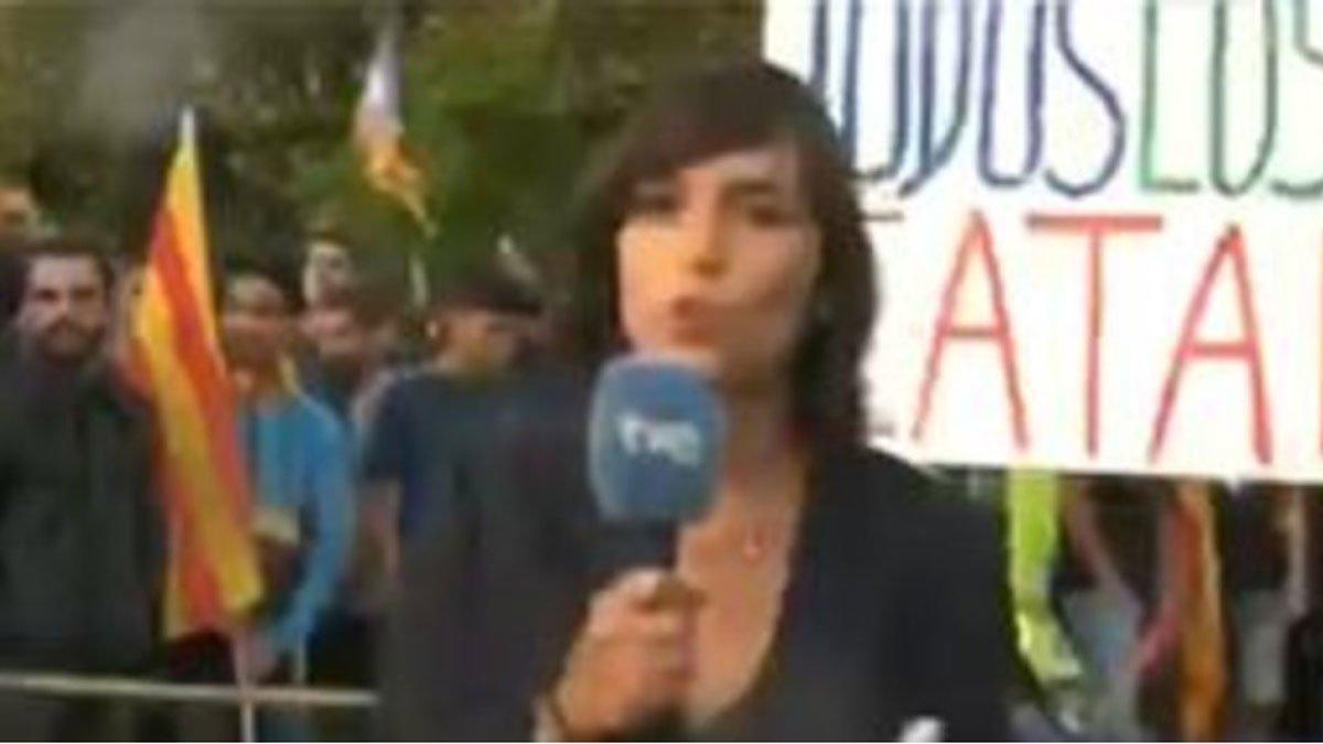 Ángela García Romero, durante la agresión.