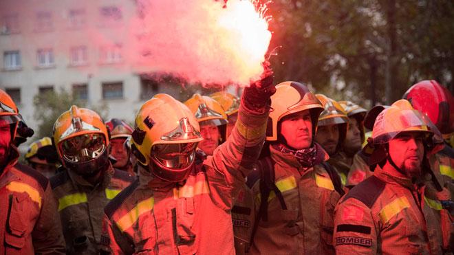 Barcelona manifestacion bomberos