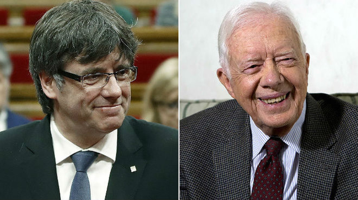Carles Puigdemont y Jimmy Carter.