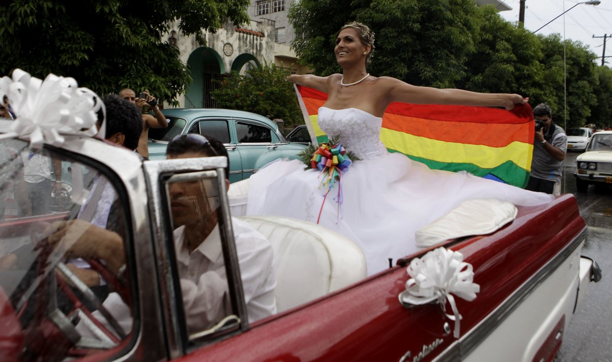 Holding up a gay pride flag  transsexual Wendy Iriepa  who had a sex change  rides to her wedding on a classic car in Havana  Cuba  that language promoting the legalization of gay marriage will be removed from the draft of a new constitution after widespread popular rejection of the idea   AP Photo Javier Galeano  File