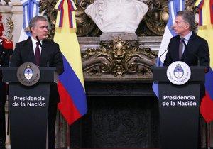 Iván Duque, presidente de Colombia, junto con Mauricio Macri, presidente de Argentina. AFP