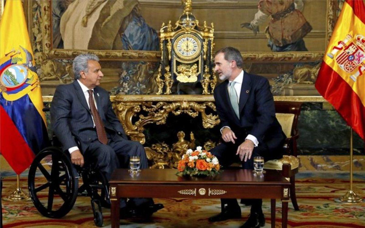 Lenín Moreno, presidente de Ecuador junto alrey Felipe VI de España.