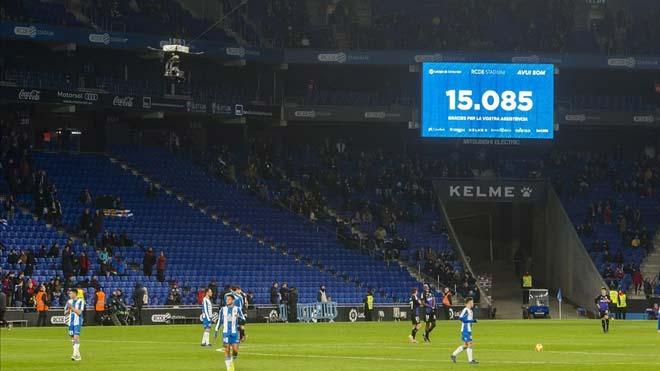 El Espanyol compensará a sus abonados por la crisis del coronavirus, como explica Josep Maria Duran, director general del club. En la foto, un aspecto del RCDE Stadium durante el partido entre Espanyol y Leganés.