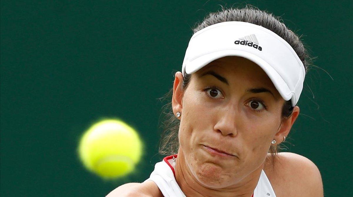 Garbiñe Muguruza, durante el partido ante Beatriz Haddad Maia en la primera ronda del torneo.