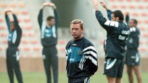Javier Clemente, en un entrenamiento con la selección española.