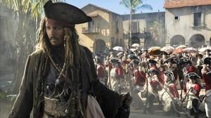 Johnny Depp, en un fotograma de Piratas del Caribe: la venganza de Salazar.