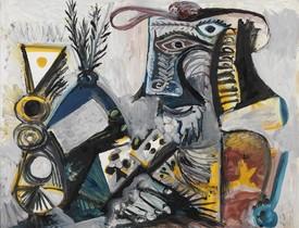El jugador de cartas II, óleo realizado por Pablo Picasso en 1971.