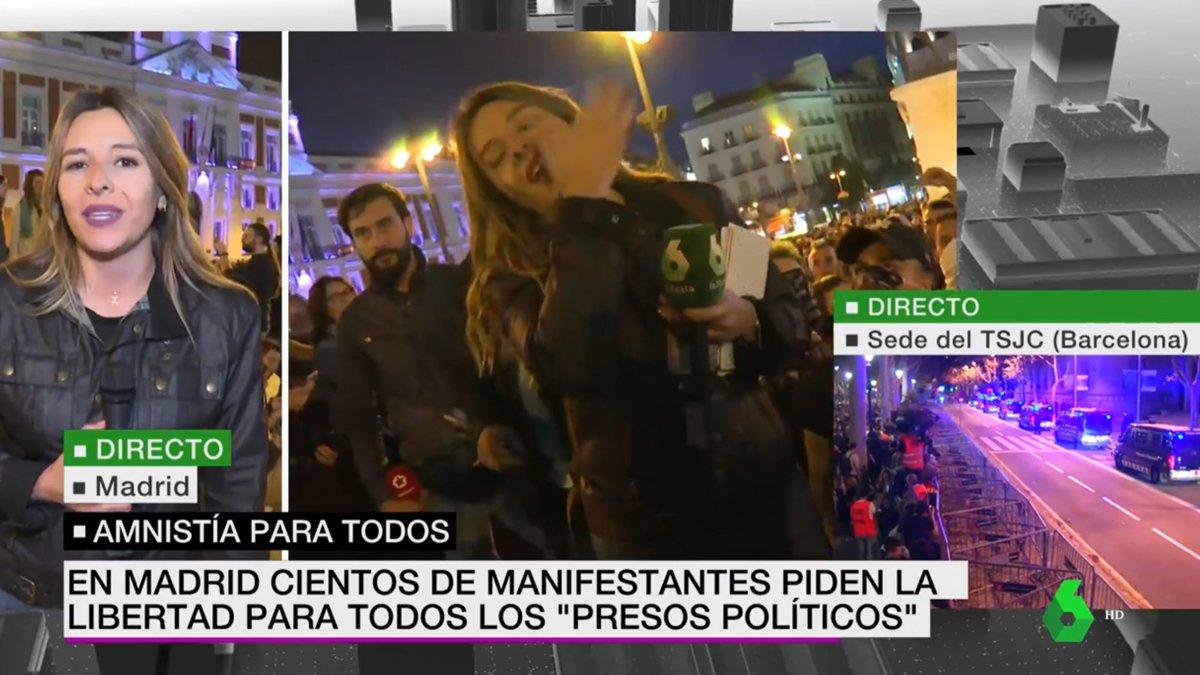 Increpan y escupen a una reportera de 'laSexta Noticias' en la manifestación de Madrid