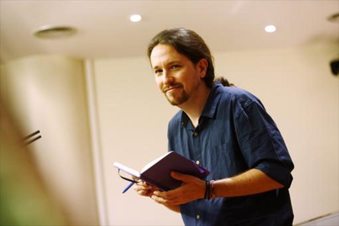 El líder de Podemos, Pablo Iglesias, tras la consulta con el Monarca.