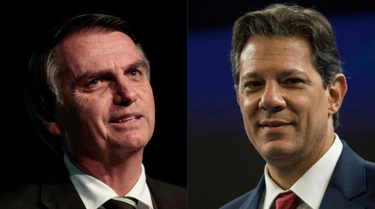 Los dos candidatos a la presidencia de Brasil, Jair Bolsonaro y Fernando Haddad, se enfrentaran el próximo 28 de octubre.