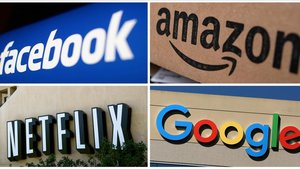 Los logos de Facebook, Amazon, Netflix y Google.
