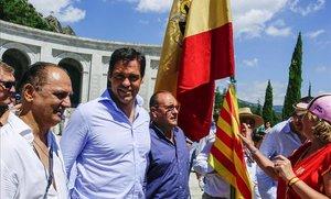 Luis Alfonso de Borbón, el pasado mes de julio, en la manifestación en contra de la exhumación de su bisabuelo.