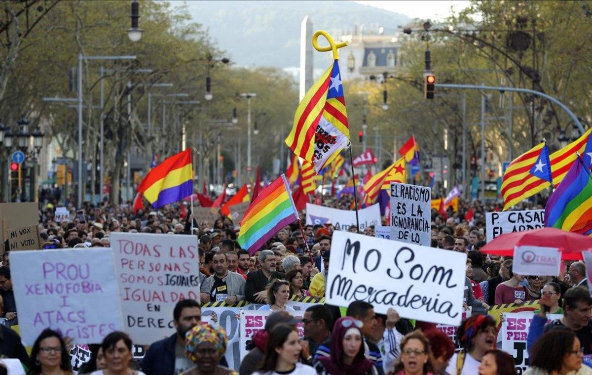 Manifestación contra Vox el pasado sábado 23 de marzo en Barcelona.
