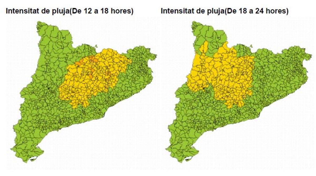 Mapa de previsión de lluvias en Catalunya para el 4 de septiembre.