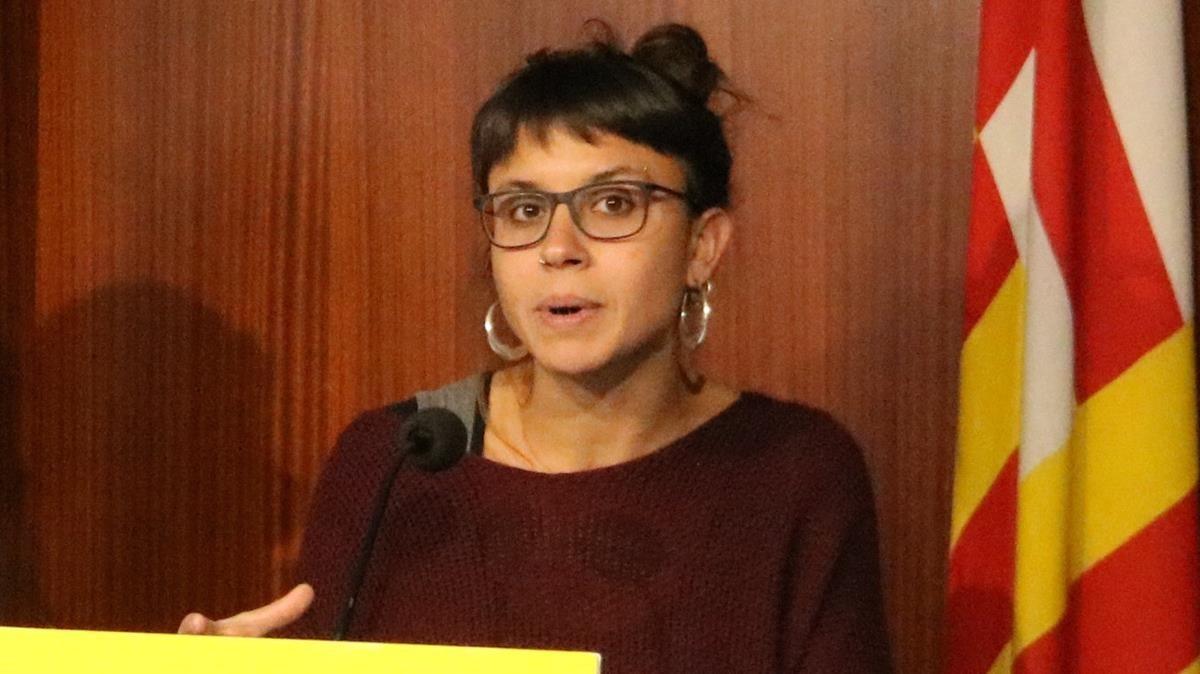 Maria Rovira, en una imagen de archivo, durante una rueda de prensa en el ayuntamiento de Barcelona.