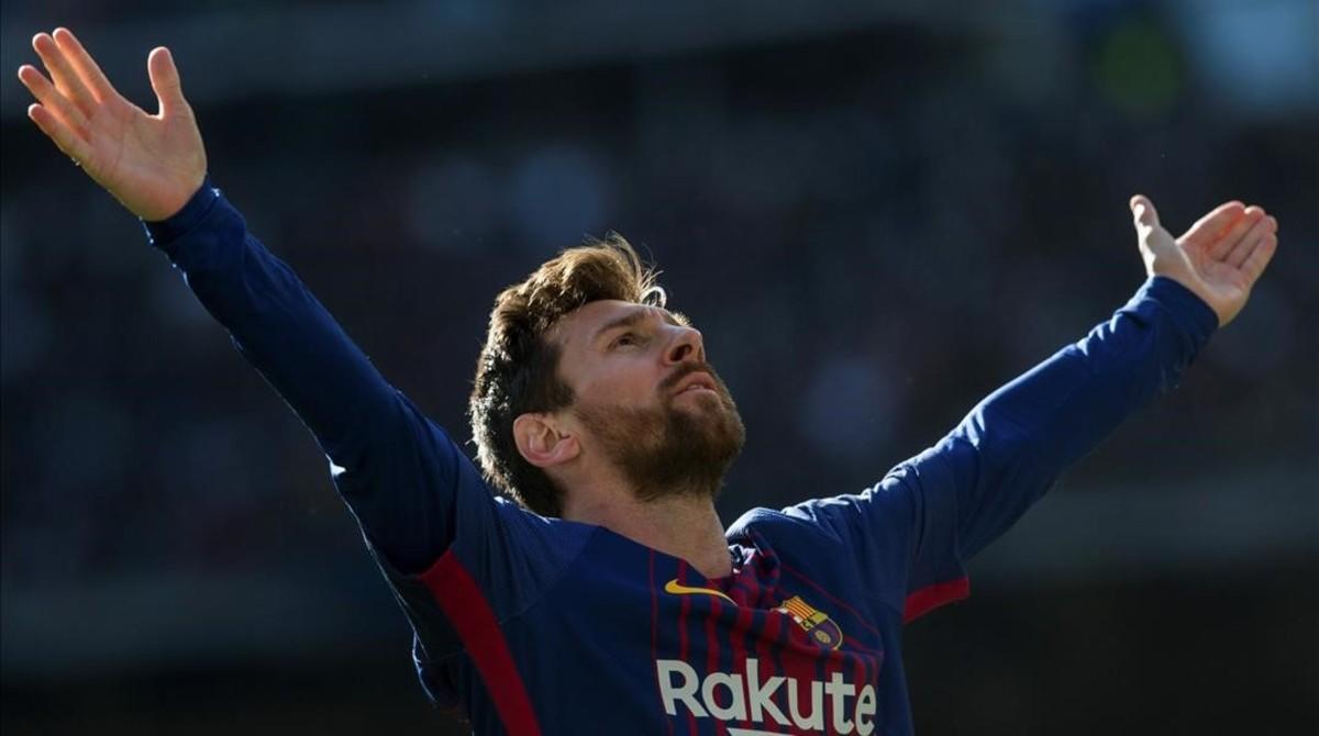 Messi celebra el gol que anotó en el clásico del 23 de diciembre.