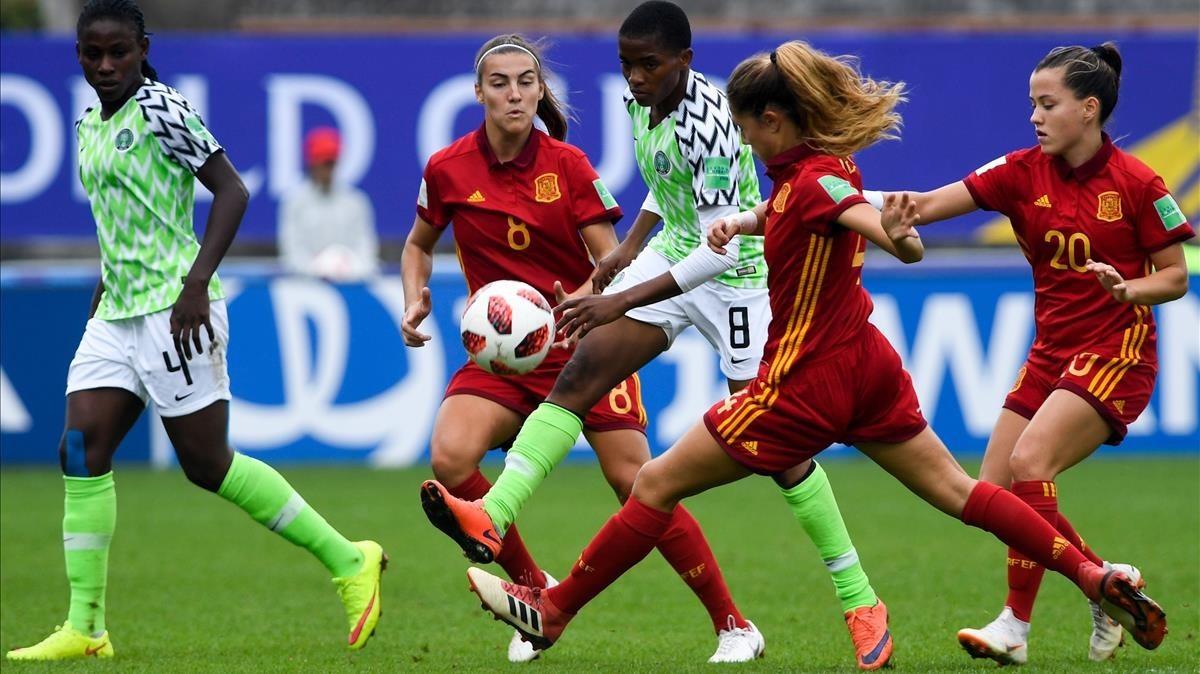 Un momento del España-Nigeria sub-20.