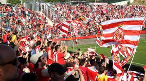La afición de Montilivi, cuando se celebró el ascenso del Girona a Primera.