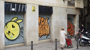 Oficinas bancarias cerradas en Barcelona.